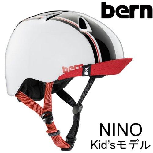 bern(バーン) ヘルメット NINO キッズモデル Gloss White Racing Stripe Visor ヘルメット bern 子供用(スケボー・自転車ヘルメット) XS-S(KIDS)48cm-51.5cm