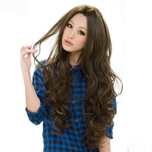 Hot Summer Fluffy Short Pear Hair Oblique Band Brown Medium Long Hair For Women OL Style