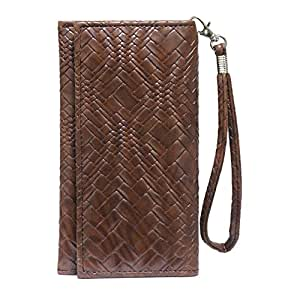 Jo Jo A5 Bali Leather Wallet Universal Pouch Cover Case For Oppo N1 Mini Dark Brown