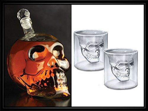 Brilliant - Facial Skeleton Bottle & Two Double Wall Skull Shot Glasses - 3 Piece Set