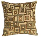 Avirex rust color squares pattern print 20 x 20 throw pillow