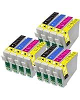 12 Epson 16 XL Cartouches compatibles série d'encre pour WorkForce WF-2010W WF-2510WF WF-2520NF WF-2530WF WF-2540WF, ensemble complet des T1816, 3x T1631, 3x T1632, 3x T1633 et 3x T1634