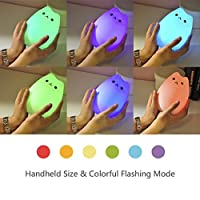 WoneNice Portable Silicone Soft Cartoon LED Multicolor Night Lamp, USB Rechargeable Children Night Light with Warm White & 7-Color Breathing Dual Light Modes, Sensitive Tap Control for Baby Adults Bedroom from WoneNice