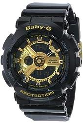 Casio Women's BA-110-1ACR Baby-G Goldtone Analog-Digital Display and Black Resin Strap Watch