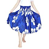 ■JA3333 フラ シングルパウスカート スカート丈70cm ブルー×ホワイト