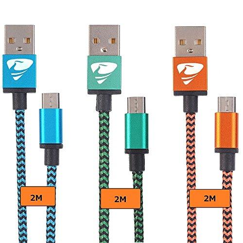 [3-Couleur] Cable Micro USB, Rephoenix Nylon tressé Câble USB Android Câble Chargeur pour Samsung Galaxy, HTC, Sony, Nexus - 2m/6.5ft