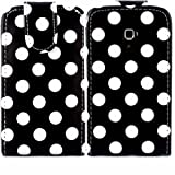 Polka Flip Case Cover Shell For Samsung Galaxy Ace Plus S7500 / White Polka Dots Spots Black