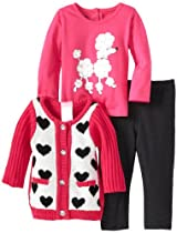 Nannette Baby-Girls Infant 3 Piece Poodle Heart Sweater with Shirt and Pant, Pink, 12 Months