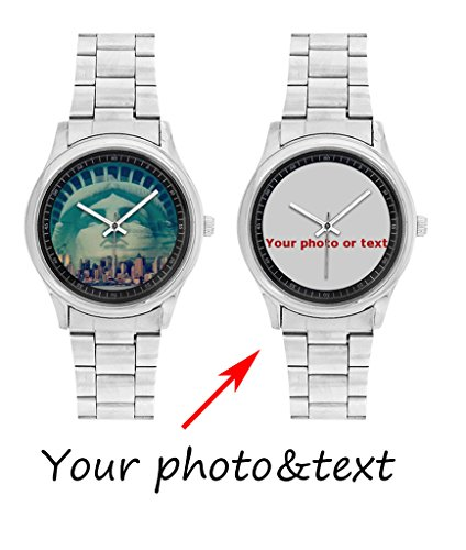 InterestPrint Personalized Custom Gift Men's Stainless Steel Casual Wrist Watch with Your Photo or Text (Custom Photo Watch compare prices)