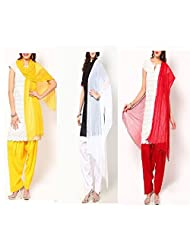 Ashmita Cotton Set Of Patiyall & Dupattas-Yellow,white,blue-FS
