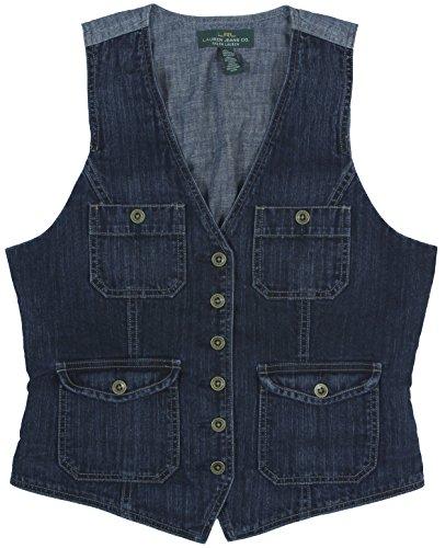 Lauren Ralph Lauren Women'S Six-Button Denim Utility Vest X-Large Navy