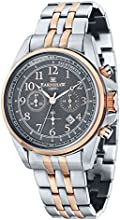 Thomas Earnshaw Chronograph Commodore Men's Quartz Watch with Grey Dial Analogue Display and Two Tone Stainless Steel Rose Gold Plated Bracelet ES-8028-66