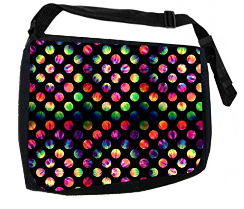 Tie Dye Polka Dots TM Laptop Messenger Bag for Laptop/Notebook Computers + Small Wire/Accessory Case SET - Made in the U.S.A.