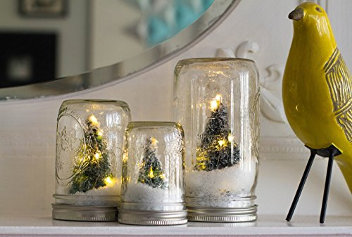 Winter Wonderland Mason Jar - Set of 3 Trees with LED Lights