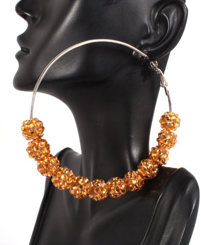 Basketball Wives Gold Shamballah 3 Inch Hoop Earrings with 12 Disco Balls Poparazzi