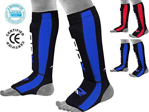 RDX Neoperene MMA Shin Instep Pads Leg Guard Thai Boxing Training Protective Gear Kickboxing (CE Certified Approved by SATRA)