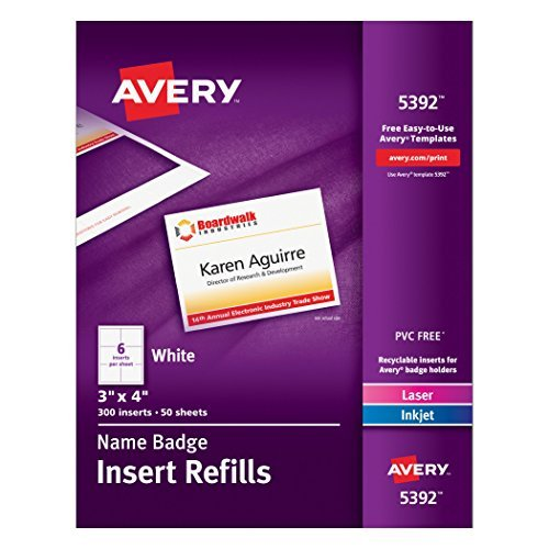 Avery White 3 x 4 Inch Name Badge Insert Refills 300 Count (5392) Size: 1-Pack, Model: 5392, Office Shop (Avery Name Badge Inserts 5392 compare prices)