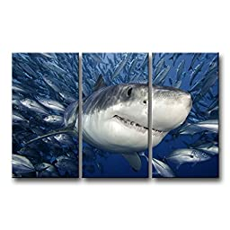 3 Piece Blue Wall Art Painting Shark Catching Fish Pictures Prints On Canvas Animal The Picture Decor Oil For Home Modern Decoration Print