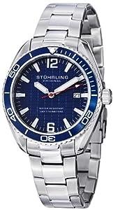 Stuhrling Original Regatta 515 Men's Quartz Watch with Blue Dial Analogue Display and Silver Stainless Steel Bracelet 515.03