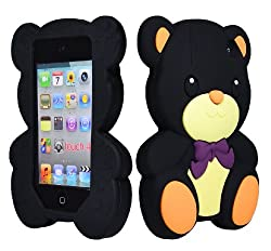 Bastex Soft Gel Silicone Flexible Cute Bear Case for Apple Ipod Touch 4, 4g - Black & Brown