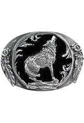 Pewter Belt Buckle - Howling Wolf (Diamond Cut ) - Pewter Belt Buckle