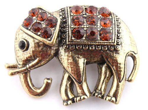 Ladies Gold with Orange Iced Out Elephant Style Safety Pin Brooch & Pin Pendant