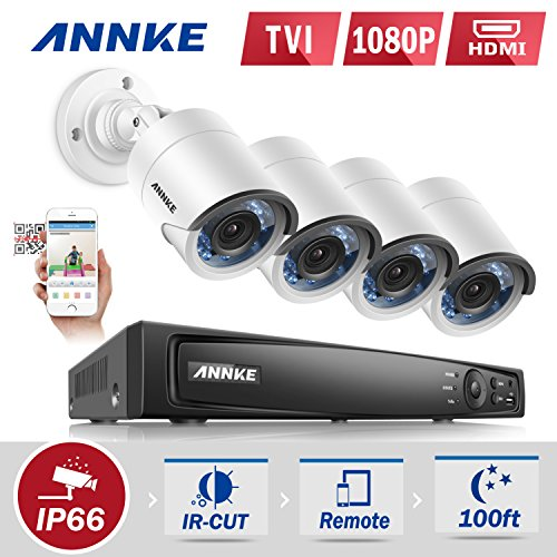 Fantastic Deal! Annke 1080P HD-TVI H.264+ DVR Video Security System 4CH 1080P DVR with 4x HD 1920TVL...