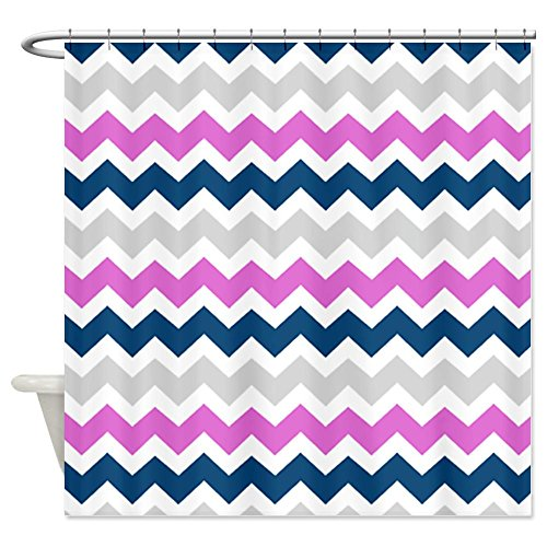 Blue Pink Grey Chevron Stripes