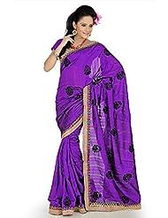 Designersareez Women Bhagalpuri Silk Embroidered Purple Saree With Unstitched Blouse(644)