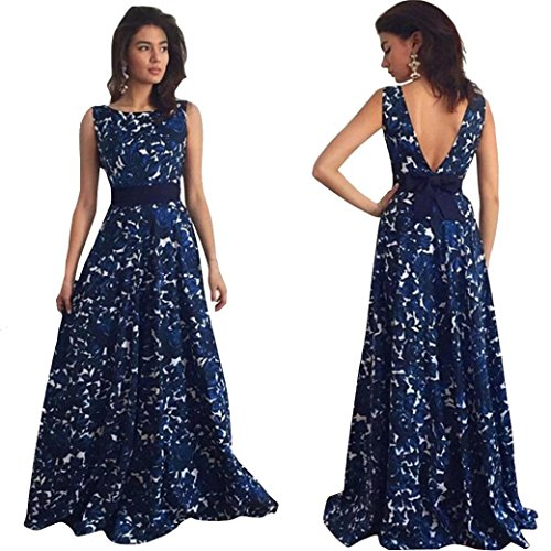 Creazy Sexy Women Floral Long Formal Prom Dress Party Ball Gown Evening Wedding Dress (XL)