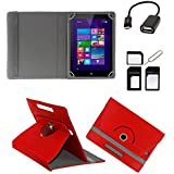 ECellStreet ™ PU Leather Rotating 360° Flip Case Cover With Tablet Stand For Lenovo Idea Tab A1000 Tablet - Red + Free OTG Cable + Free Sim Adapter Kit