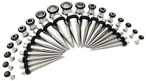 Stainless Steel Ear Stretching Taper and Tunnel Starter Kit - 36 Piece Set 14G to 00G Gauge (Plug Set 14g 00g compare prices)