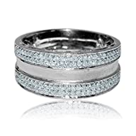 10K White Gold White Diamond 0.58 cttw Mens 12MM Wedding Ring