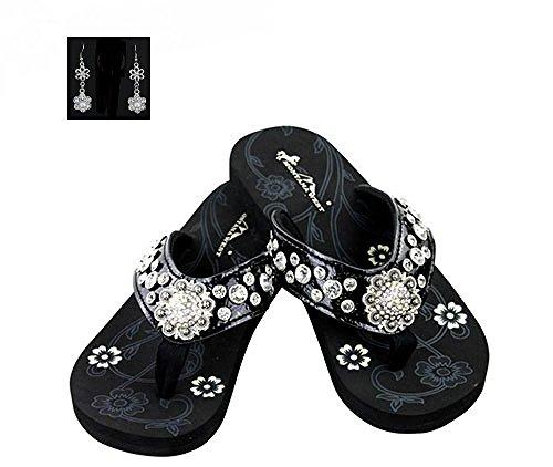 Montana West Rhinestone Concho Thin Sole Flip Flops Sandals Black (8)