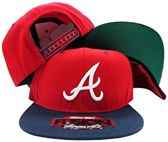Atlanta Braves Red Navy Two Tone Fusion Snap Adjustable Snapback Hat Cap by American Needle