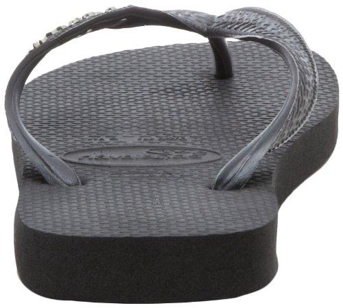 Havaianas Women's Top Logo Metallic Flip Flop,Black/Grey,37/38