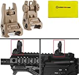 IMI Defense TFS Desert Tan Automatic Deploy Weaver Picatinny Front & Rear Set Flip Back Up Backup Auxiliary AR15 AR-15 M16 M4 M-4 Flattop Low Profile Polymer Iron Sight Mount with Adjustment Finger Knob + Ultimate Arms Care and Reel Silicone Lubricated Cleaning Cloth