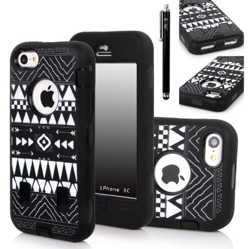 Iphone 5C Case, E Lv Iphone 5C Case - Heavy Duty Rugged Dual Layer Hybrid Armor Defender Case Cover For Iphone 5C With 1 Screen Protector, 1 Black Stylus And 1 Microfiber Sticker Digital Cleaner (Apple Iphone 5C) - Tribal Black