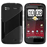 Black Frost Twill Shape TPU Silicone Rubber Cover Case for HTC Sensation XE