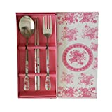 3pcs Set Stainless Steel Chopsticks Spoon and Fork Set for Gift - Pink Rose