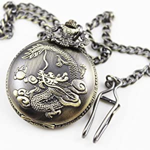 Retro charming men's boy's pocket watch dragon design