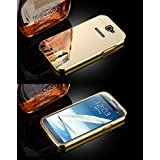 MACC Luxury Aluminium Bumper With Mirror Acrylic Back Cover For Samsung Galaxy Note2 N7100 / 7100 - YELLOWGOLD