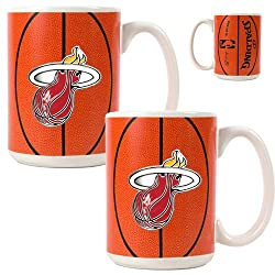 Miami Heat NBA 2pc Ceramic Gameball Mug Set - Primary Logo