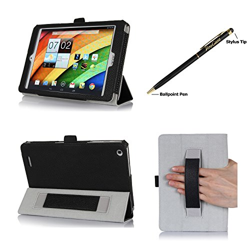 ProCase Folio Stand Case for Acer Iconia A1-830 Tablet Case - Tri-Fold Slim Book Cover for Acer Iconia A1-830 Android Tablet (2014 released), Corner Protected, with Stand, Hand Strap, bonus stylus pen included (Black)