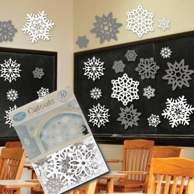 30 Piece Snowflake Decorations Cutouts Value Pack