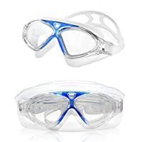 Swim Goggles, Amazer Clear Swimming Goggles Swim Mask with Clear Vision Anti Fog UV Protection No Leak Come Easy to Adjust with Free Protection Case for Adult Men Women Youth Junior from AMAZER