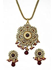 Jewelfin Lovely Floral Design Red Beads Pendant Necklace Set For Women