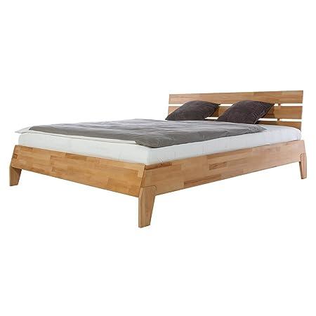 Bett Holzbett Doppelbett Finnmark, 160x200, Massivholz Holz Kernbuche massiv geölt, Breite 165 cm, Tiefe 218 cm, Höhe 88 cm