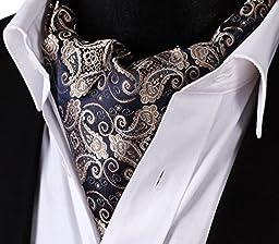 SetSense Men\'s Paisley Jacquard Woven Self Cravat Tie Ascot One Size Navy Blue / Gold