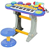 Best Choice Products Musical Kids Electronic Keyboard 37 Key Piano W/ Microphone, Synthesizer, Stool, Records and Playbacks Music Blue